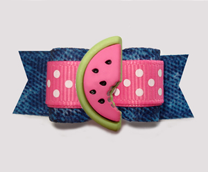 "#3064 - 5/8"" Dog Bow - Denim 'n Dots, Sweet Pink Watermelon"