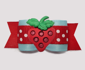 "#3065 - 5/8"" Dog Bow - Sweet Strawberry, Light Blue/Red w/Dots"
