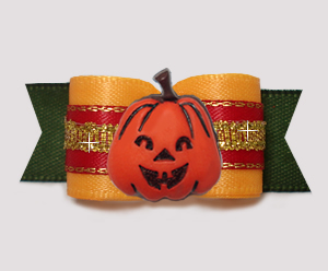 "#3066 - 5/8"" Dog Bow- Autumn Glory Pumpkin, Yellow/Red/Green"
