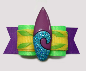 "#3068- 5/8"" Dog Bow- Surf's Up! Summer Lime/Purple, Surfboard"