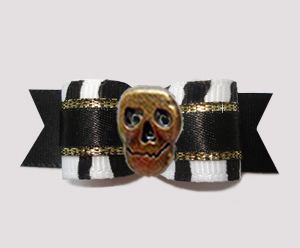 "#3071- 5/8"" Dog Bow - Classic Zebra, Touch of Gold, Bronze Skull"