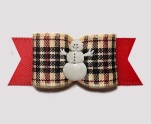 "#3072 - 5/8"" Dog Bow - Classic Designer Plaid on Red w/Snowman"