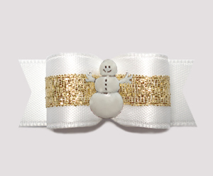 "#3074 - 5/8"" Dog Bow- Angelic White & Gold with Little Snowman"