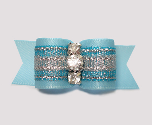 "#3076- 5/8"" Dog Bow - Gorgeous Blue/Silver Shimmer w/Rhinestones - Click Image to Close"