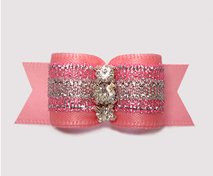 "#3077- 5/8"" Dog Bow - Gorgeous Pink/Silver Shimmer w/Rhinestones - Click Image to Close"
