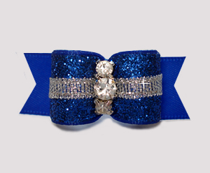 "#3079 - 5/8"" Dog Bow - Showy Glam, Glitter & Silver, Regal Blue"