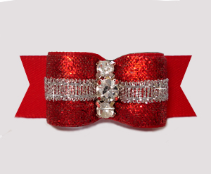 "#3080 - 5/8"" Dog Bow - Showy Glam, Glitter & Silver, Classic Red"