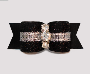 "#3081-5/8"" Dog Bow- Showy Glam, Glitter & Silver, Midnight Black"