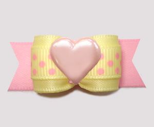"#3082 - 5/8"" Dog Bow - Baby Sweet, Yellow/Pink Dots w/Pink Heart"