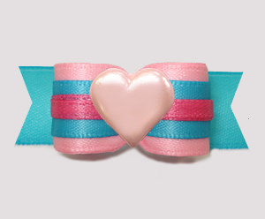 "#3083 - 5/8"" Dog Bow - Sweet Cotton Candy Pink/Blue w/Pink Heart"