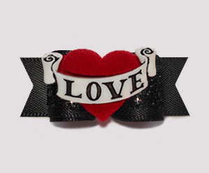 "#3090 - 5/8"" Dog Bow- Classic Black w/Glitter, Red LOVE Heart"