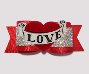"#3091 - 5/8"" Dog Bow - Showy Red and Silver Glitter, LOVE Heart"