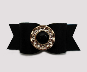 "#3093 - 5/8"" Dog Bow - Chic & Classic Black Satin with Flair"