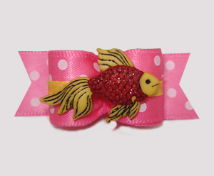 "#3094 - 5/8"" Dog Bow - Sparkly Fish, Cute Pink/Summer Yellow"
