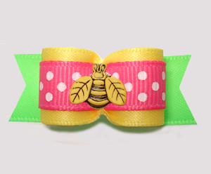 "#3097 - 5/8"" Dog Bow - Sunny Yellow/Green w/Pink, Little Bee"
