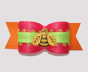 "#3099 - 5/8"" Dog Bow - Busy Bee Brights, Hot Pink/Orange/Lime"