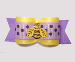 "#3100 - 5/8"" Dog Bow - Cute Little Spring Bee, Yellow/Lavender"