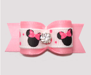 "#3103 - 5/8"" Dog Bow - Cute Baby Minnie Mouse, Soft Pink"