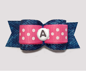 "#3105 - 5/8"" Dog Bow- Cowgirl Denim 'n Dots - Choose Your Letter"