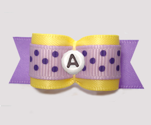 "#3107 - 5/8"" Dog Bow - Yellow/Purple w/Dots, Choose Your Letter"