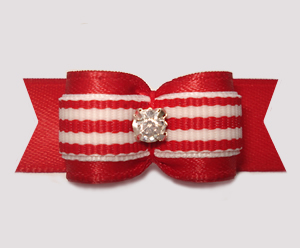 "#3108 - 5/8"" Dog Bow - Classic Red/White Stripes, Rhinestone"