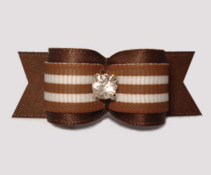 "#3109 - 5/8"" Dog Bow - Chocolate Brown/White Stripes, Rhinestone"