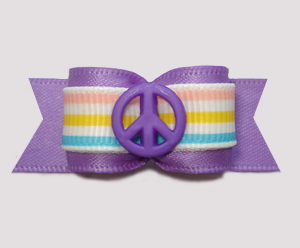 "#3110 - 5/8"" Dog Bow - Peace Out! Peaceful Purple w/Stripes"