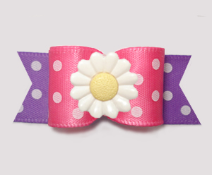 "#3114 - 5/8"" Dog Bow - Delightful Daisy Dots, Pink/Lavender"