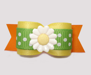 "#3115- 5/8"" Dog Bow- Delightful Daisy, Sunny Yellow/Orange/Green"