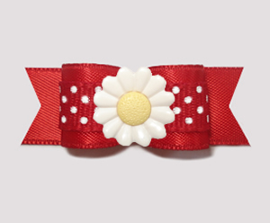 "#3116 - 5/8"" Dog Bow - Delightful Daisy Dots, Classic Red/White"