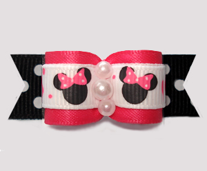 "#3118 - 5/8"" Dog Bow - Minnie Mouse Cutie, Hot Pink on B/W Dots"