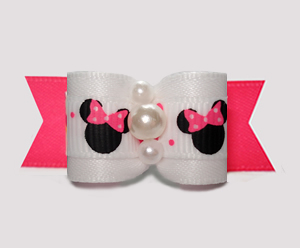 "#3119 - 5/8"" Dog Bow - Cute Minnie Mouse, White/Hot Pink"