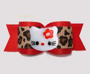 "#3121- 5/8"" Dog Bow - Ooo-la-la, Red/Leopard Print, Little Kitty"