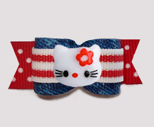 "#3122- 5/8"" Dog Bow - Hello Little Kitty, Denim, Stripes 'n Dots"