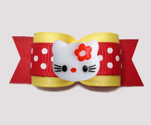 "#3123- 5/8"" Dog Bow - Hello Little Kitty, Sunny Yellow/Red, Dots"