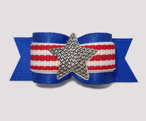 "#3126- 5/8"" Dog Bow- Patriotic Stripes w/Star, Red/White on Blue"