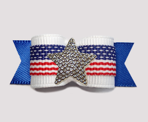 "#3128 - 5/8"" Dog Bow - Patriotic Stars & Stripes, White on Blue"