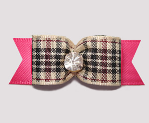 "#3129- 5/8"" Dog Bow - Classic Designer Plaid on Pink, Rhinestone"