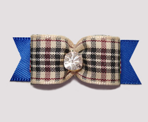 "#3130- 5/8"" Dog Bow - Classic Designer Plaid on Blue, Rhinestone"