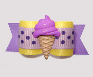 "#3134 - 5/8"" Dog Bow - Yummy Ice Cream, Yellow/Lavender/Purple"