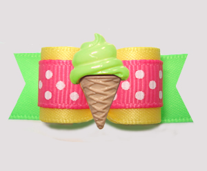 "#3136 - 5/8"" Dog Bow - Yummy Ice Cream, Sunny Yellow/Lime/Pink"