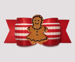 "#3138 - 5/8"" Dog Bow - Classic Red/White Stripes, Gingerbread"