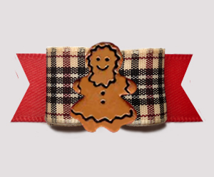 "#3139- 5/8"" Dog Bow - Classic Designer Plaid on Red, Gingerbread"