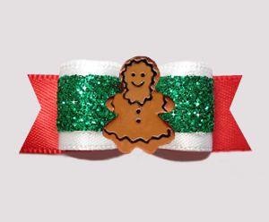 "#3141 - 5/8"" Dog Bow - Holiday Red / Green Glitter, Gingerbread"