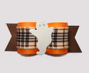 "#3142 - 5/8"" Dog Bow - Chic Designer Plaid, Orange/Brown w/Ghost"