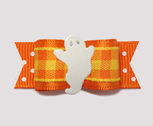"#3143- 5/8"" Dog Bow - Ghostly Delight, Candy Corn Plaid and Dots"
