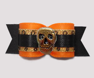 "#3144 - 5/8"" Dog Bow - Gorgeous Orange/Gold/Black, Bronze Skull"