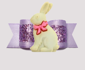 "#3146 - 5/8"" Dog Bow - Easter Bunny, Gorgeous Glitter, Lavender"