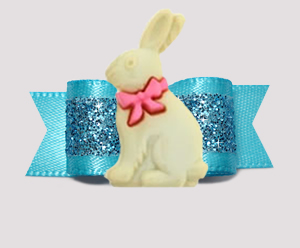 "#3147 - 5/8"" Dog Bow - Easter Bunny, Gorgeous Glitter, Blue"