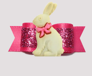 "#3148 - 5/8"" Dog Bow - Easter Bunny, Gorgeous Glitter, Hot Pink"